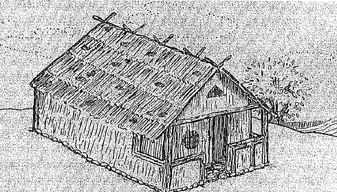 Reconstrucción ideal de una casa prototípica de la Edad Oscura griega (Sarah Pomeroy)