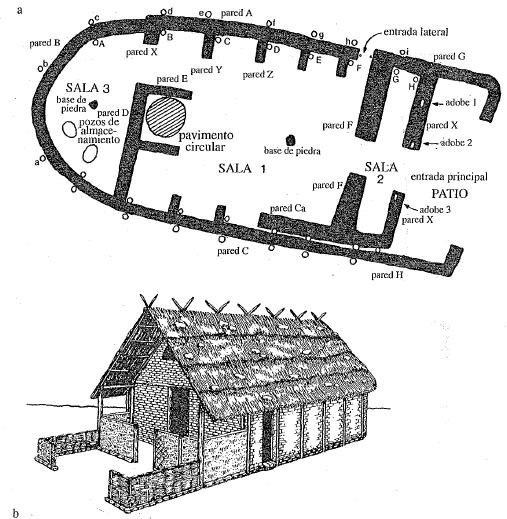 Planta y reconstrucción de la casa del jefe de la aldea de Nichoria en el s. IX a.C. (Pomeroy, 2012)
