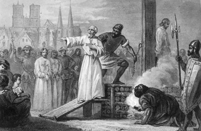 Ilustración que representaría al Gran Maestre llegando a la hoguera para su ejecución