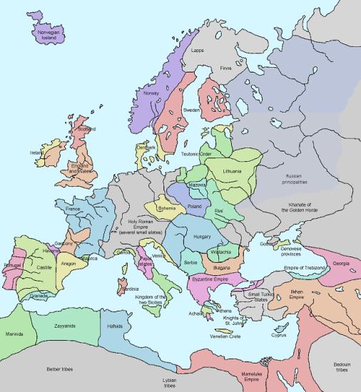 Mapa político en inglés de Europa en el primer tercio del siglo XIV