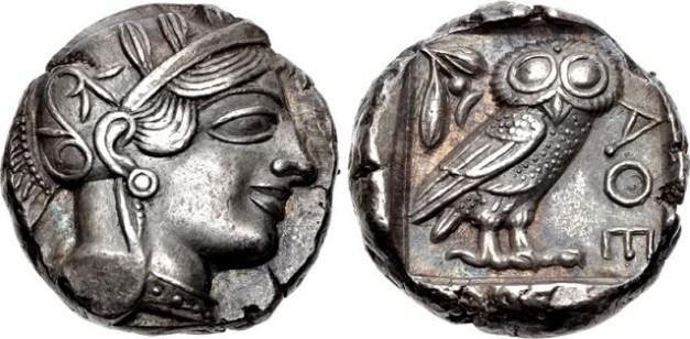 Moneda ateniense de plata del siglo V a.C.