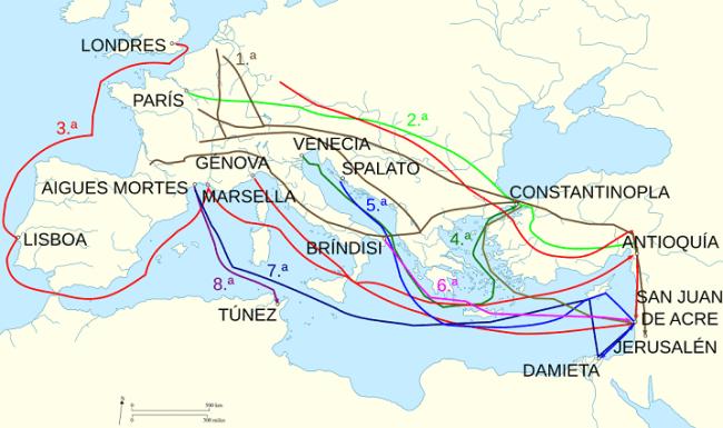Rutas seguidas por las distintas Cruzadas