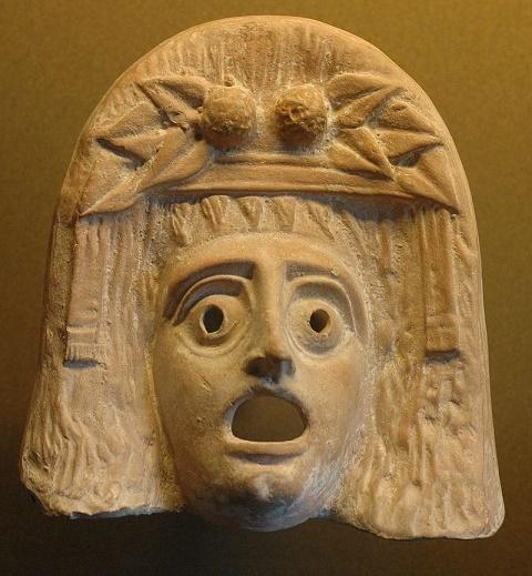 Máscara teatral representativa del dios Dionisos, usada en el origen del teatro griego