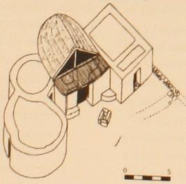 """Reconstrucción de la """"Casa del Jefe"""" hallada en la ciudad de Lathouriza"""