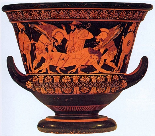 Pieza cerámica de figuras rojas de temática mitológica, muestra del arte de la Grecia arcaica