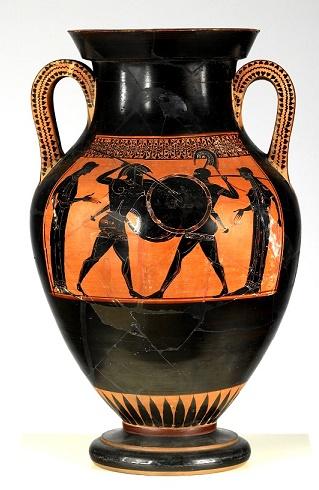 Pieza cerámica de figuras negras de finales del siglo VI a.C., muestra del arte de la Grecia arcaica