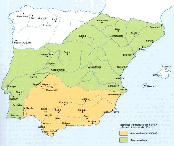 Mapa de Hispania durante las Guerras Sertorianas