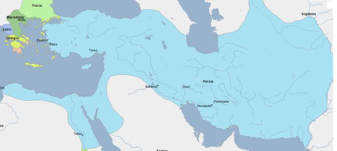 Mapa que muestra la extensión del imperio persa una vez que conquistaron Egipto