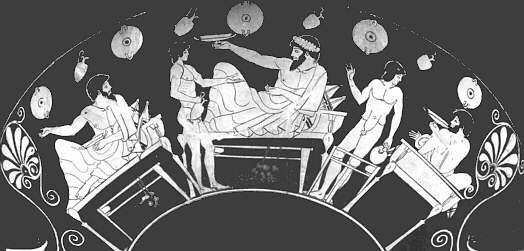 Imagen que representaría a los miembros de un syssition, fase final de la agogé