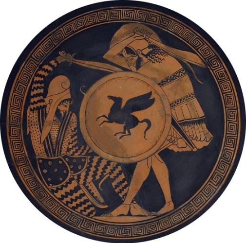 Escena de lucha entre un persa y un griego en una copa cerámica