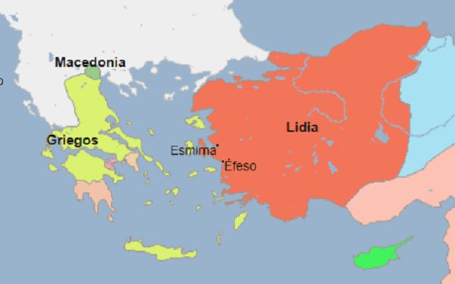 Mapa de la extensión del reino de Lidia el año antes a la conquista persa (546 a.C.), según Geacron