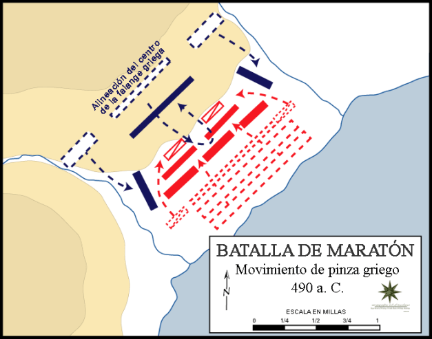 Movimientos del ejército griego en la batalla de Maratón