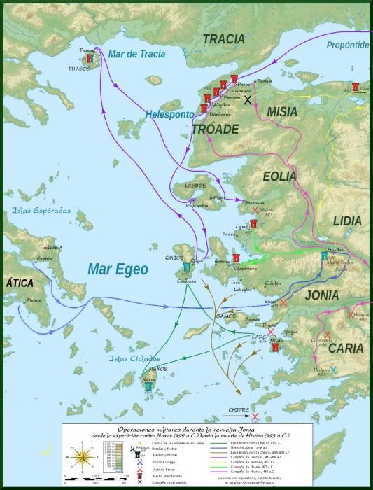 Operaciones militares de la revuelta jónica según los textos de Herodoto