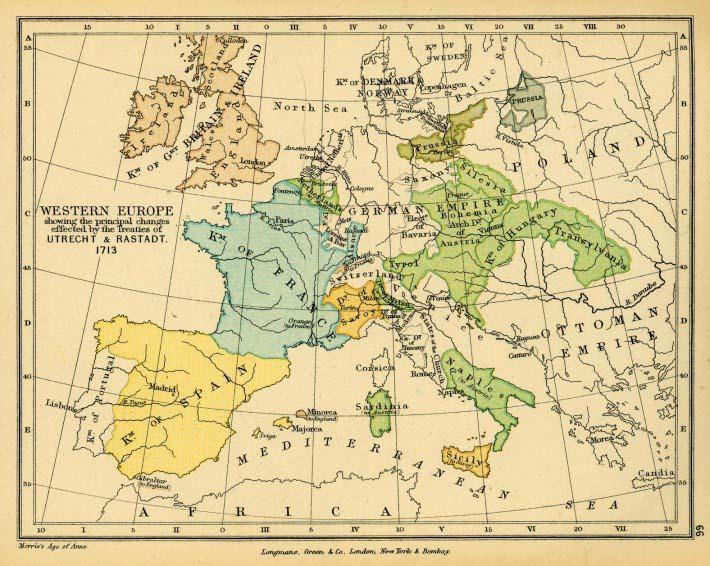 Fronteras europeas después del Tratado de Utrecht