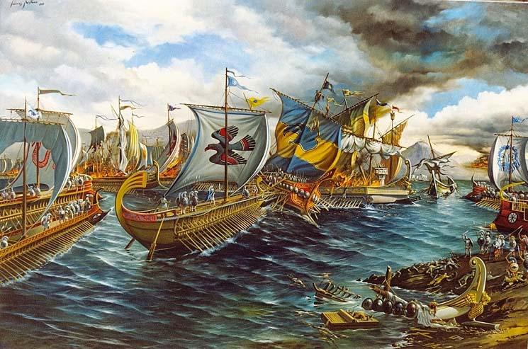 Ilustración de la batalla de Salamina (Blog Odisea, de Sergi Torrents)