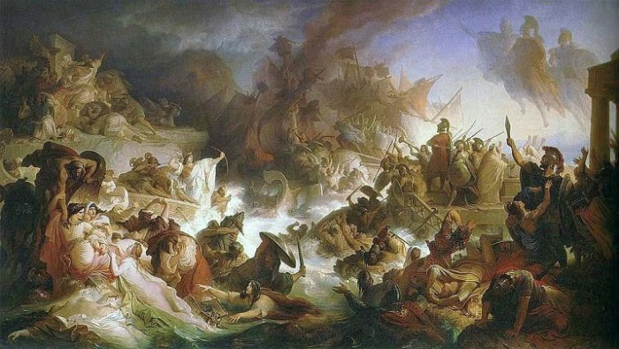 """La batalla de Salamina"", cuadro pintado en 1868 por Wilhelm von Kaulbach"
