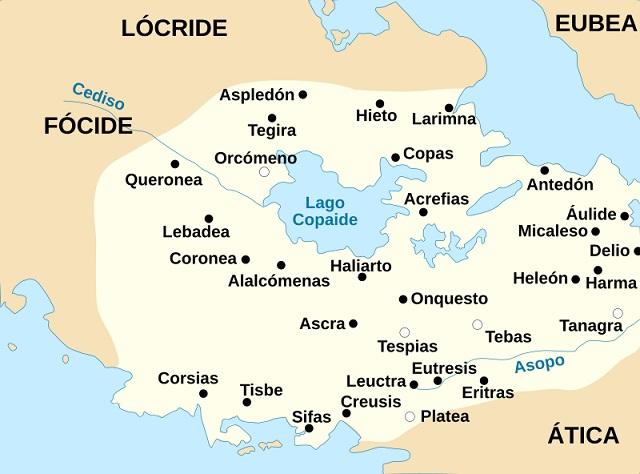Mapa de las ciudades de la región griega de Beocia, incluyendo la ubicación de la batalla de Platea