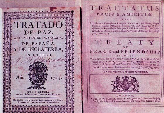 Tratado de Utrecht, consecuencia de la Guerra de sucesión española