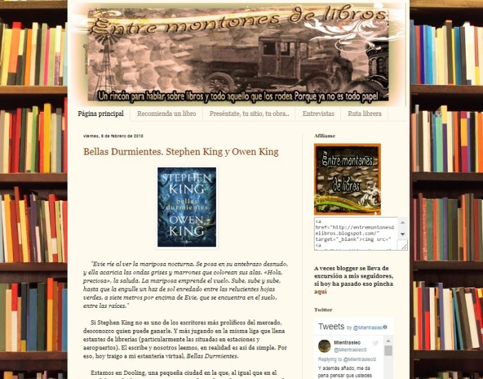 Captura de pantalla del blog Entre montones de libros