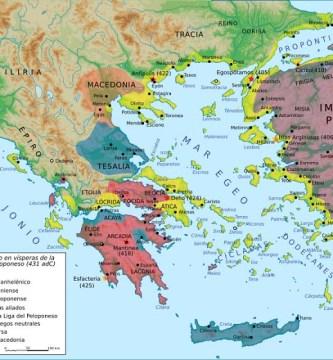 Mapa del mundo griego en vísperas de la Guerra del Peloponeso