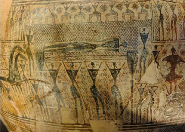 Representación en una cerámica de estilo geométrico de uno de los ritos funerarios griegos, la próhtesis