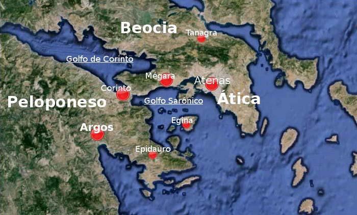 Ubicación de la ciudad de Tanagra, en Beocia, al norte de Atenas