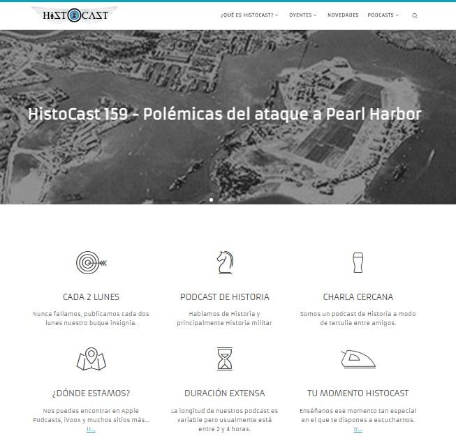 Captura de pantalla de la web de podcasts Histocast