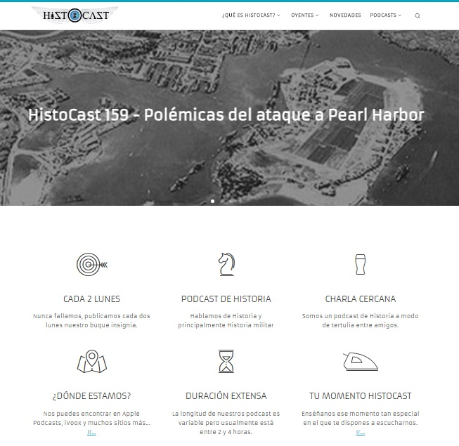 Captura de pantalla de la web de podcasts Histocast