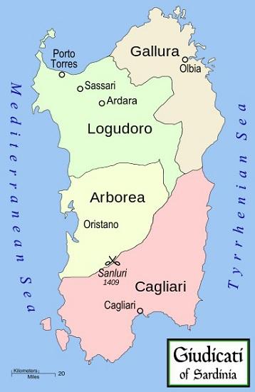 Mapa de la isla de Cerdeña hacia 1297, en pleno reinado de Jaime II de Aragón