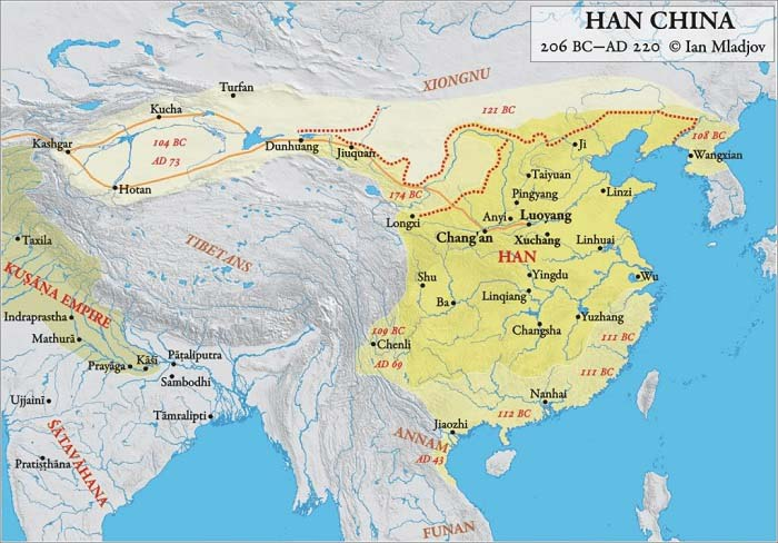 Mapa de China durante el Imperio Han (202 a.C. – 220 d.C.)