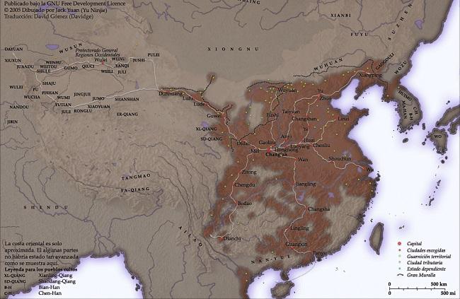 Mapa de China durante el Imperio Han, durante el cual se originó la Ruta de la Seda, por el autor Jack Yuan