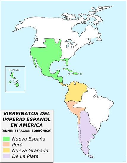Mapa de los virreinatos españoles en América a partir de 1776