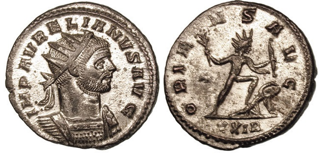 Moneda que representa al emperador Aureliano derrotando al reino de Palmira