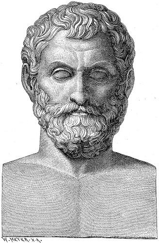 Ilustración decimonónica de un busto de Tales de Mileto
