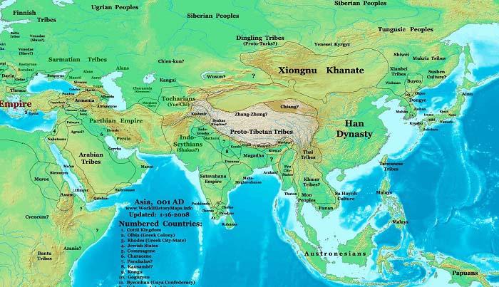Mapa de China durante la Dinastía Han occidental. Comparativa con otros reinos e imperios
