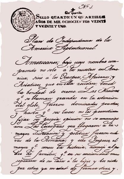 Parte del documento histórico original del Plan de Iguala