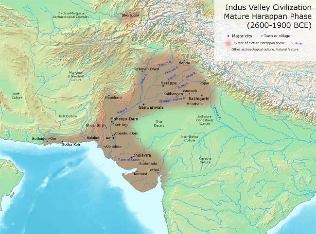 Mapa de la cultura del Valle del Indo