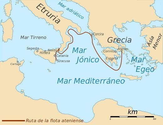 Itinerario seguido por la flota ateniense en la expedición a Sicilia, una de las fases de la Guerra del Peloponeso
