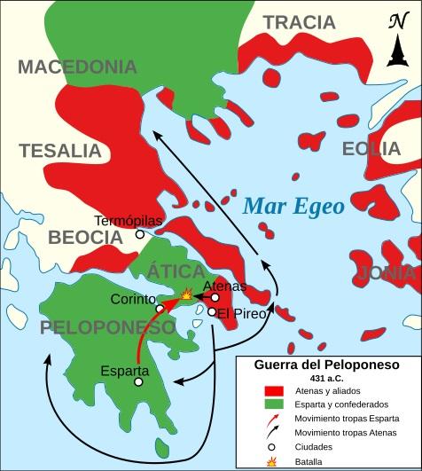 Mapa de los comienzos de la Guerra arquidámica
