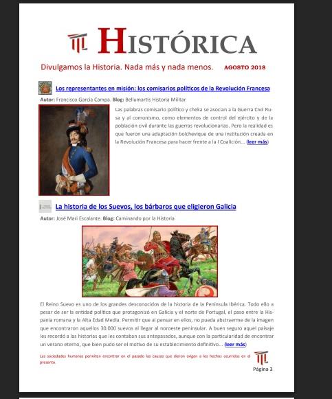 Captura de pantalla de la primera página de artículos de la revista Histórica