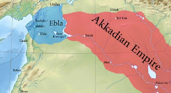 Mapa del reino de Ebla durante la época del rey acadio Naram Sin