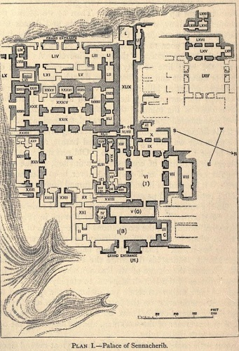 Plano del palacio de Senaquerib, donde se encontraba la biblioteca de Nínive