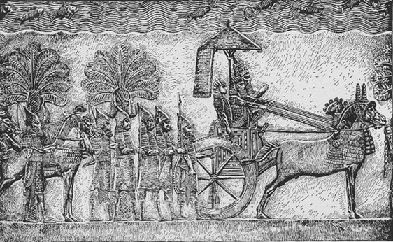Relieve del rey Senaquerib hallado en su palacio de Nínive