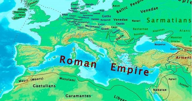 Mapa del Imperio romano en torno al año 100, hace 2000 años casi