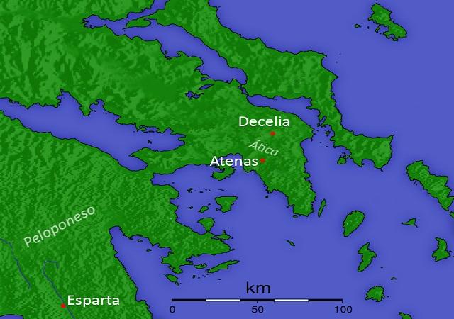 Mapa del Ática en el que se ve la ubicación de Decelia y Atenas