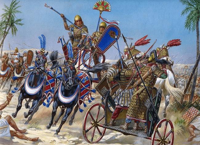Ilustración que recrea a Tutmosis III cargando contra el rey de Kadesh en la batalla de Megido (Arrecaballo)