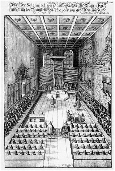 Ilustración que representa la Dieta Imperial en 1675, ejemplo de la política en la edad moderna