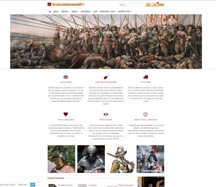 Captura de pantalla de la web principal de La casa del recreador, ejemplo de la recreación histórica