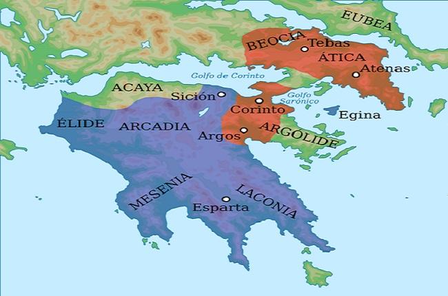 Mapa de la Guerra de Corinto. En azul, el bando espartano, y en rojo el bando aliado
