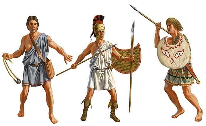 Psiloi o infantería ligera griega a la izquierda un hondero, a la derecha peltastas